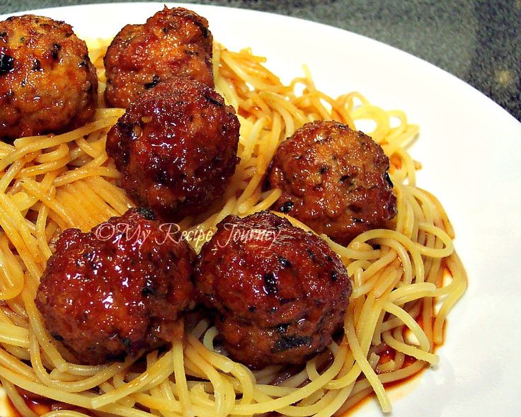 Asian Spaghetti and Meatballs...I could eat these meatballs all day! That's how good they are! =)