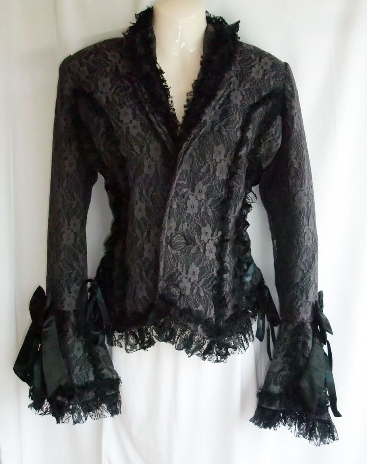 Victorian style gothic jacket in grey lace over black