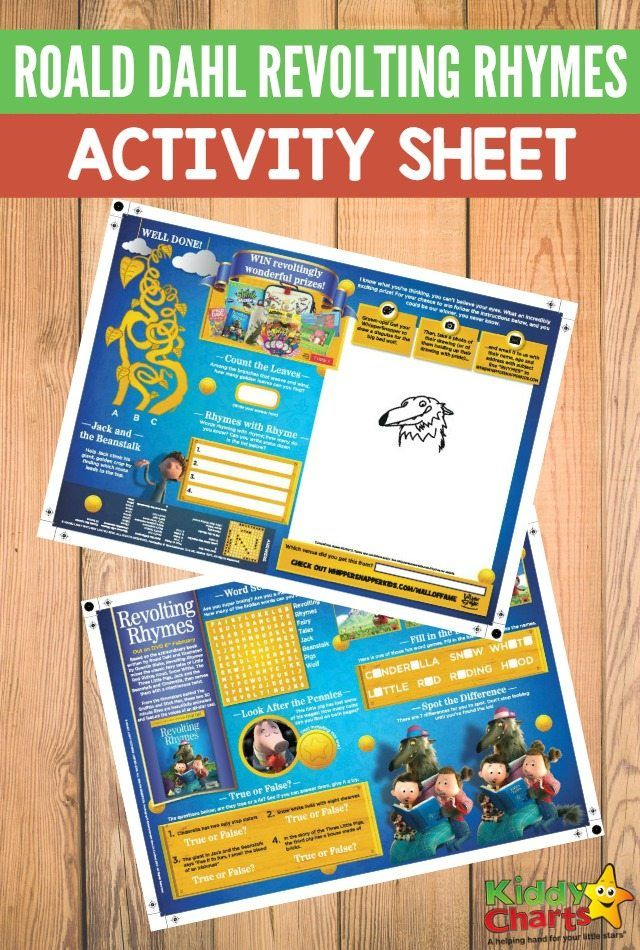 Roald Dahl Revolting Rhymes activity sheet for kids