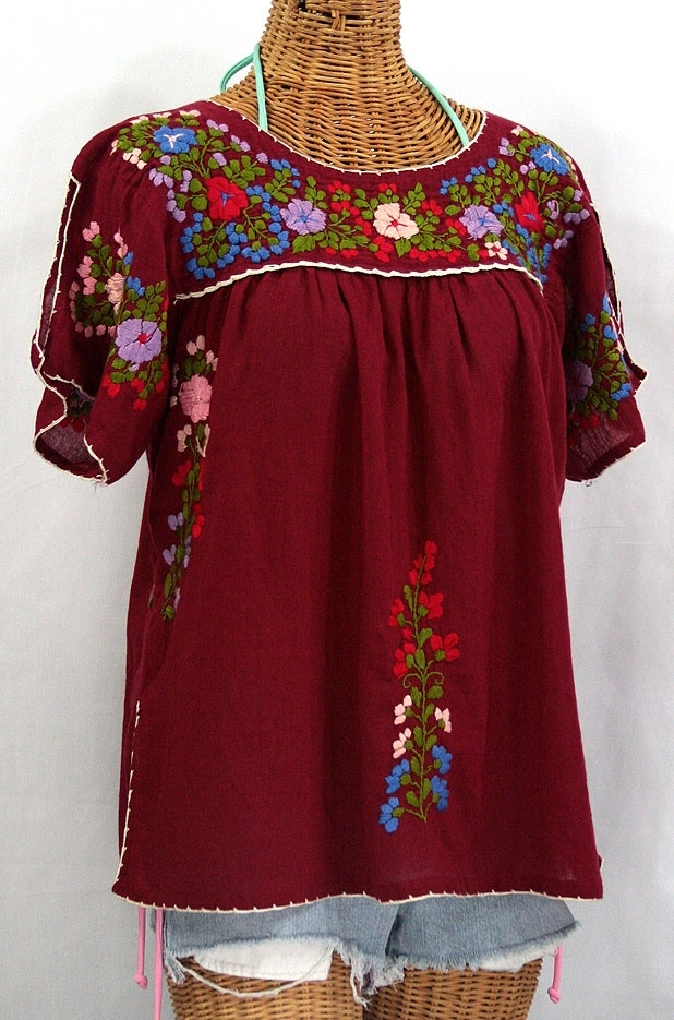 """""""La Lijera"""" Embroidered Mexican Style Peasant Blouse Burgundy"""