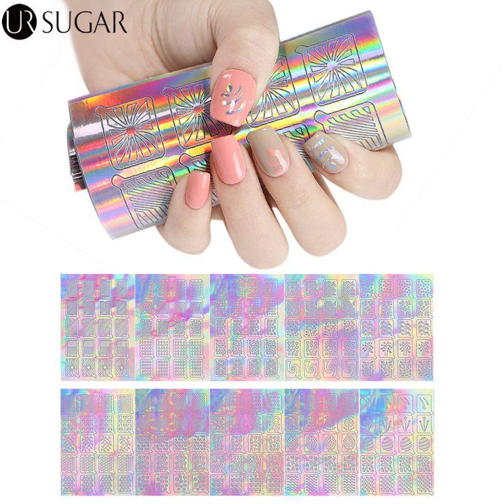 UR SUGAR 18 Sheets Holo Laser Nail Vinyls Geometry Stripe Maple Heart Nail Art Stencil Stickers Manicure Nail Art Decoration DIY