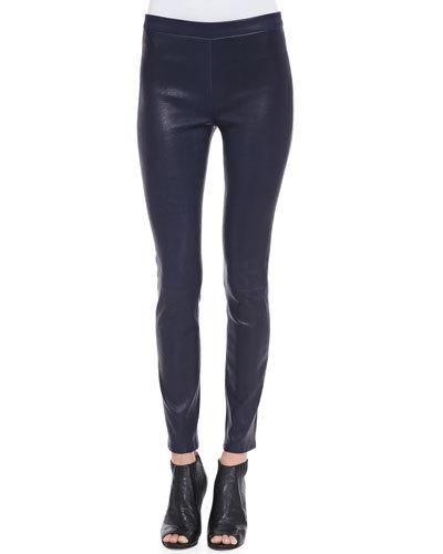 J BRAND Edita Leather Pull-On Leggings, Black Amethyst. #jbrand #cloth #