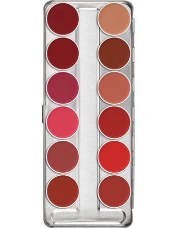 Η κλασική μεταλλική παλέτα της Kryolan με 12 χρώματα Lip Rouge. Η δοκιμασμένη φόρμουλα των Lip Rouge είναι γνωστή για την πολύ καλή σταθερότητά της. Περιέχει βιταμίνη Ε, η οποία ενεργοποιεί το μηχανισμό επανόρθωσης της επιδερμίδας.  https://gr.kryolan.com/proion/lip-rouge-palette-12-hromata