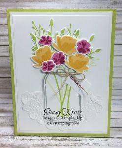 Jar of Love, Bouquet, Thank you, Stampin' Up!, Sassy Stamping, Everyday Jars Framelits