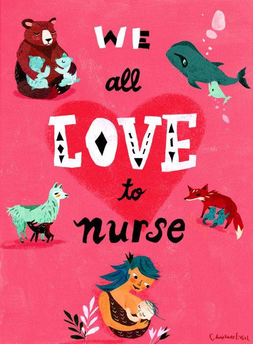 We All Love To Nurse  Breastfeeding Art print by ChEngel on Etsy