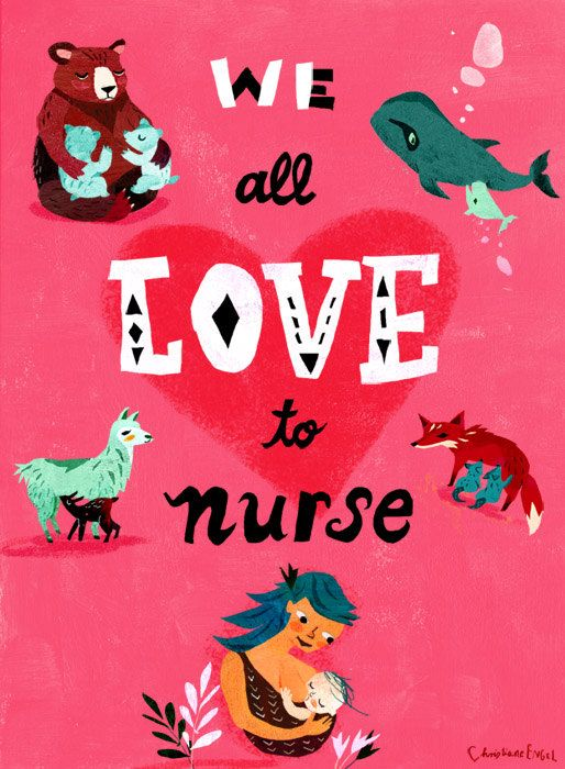 We All Love To Nurse  Breastfeeding Art print by ChEngel on Etsy