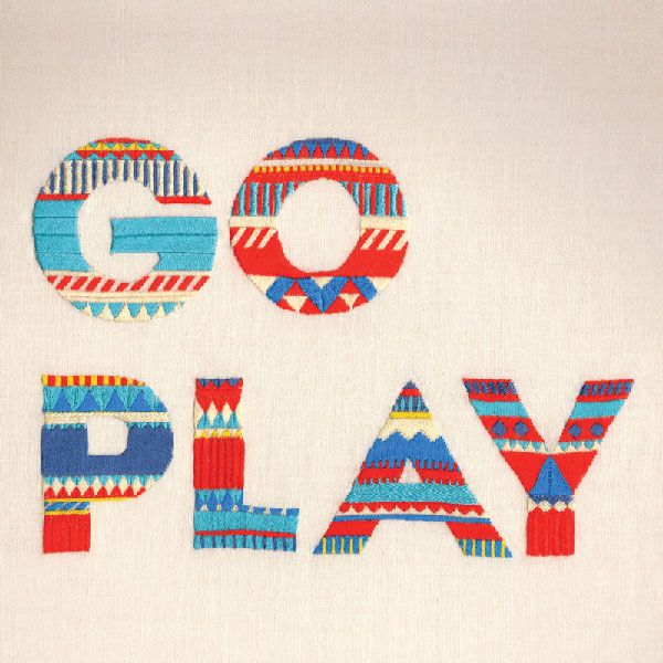MaricorMaricar_GoPlayHappy Words, Plays Hard, Illustration, Graphics Design, Life Mottos, Typography, Embroidery, Maricor Maricar, Plays Outside