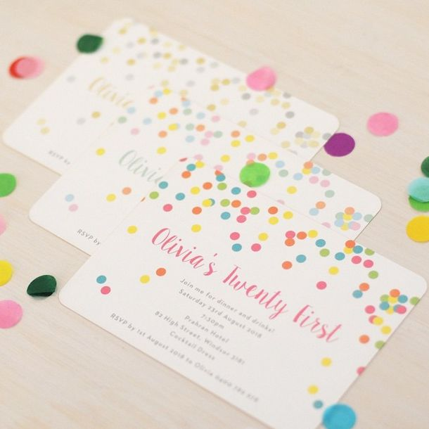 Our Confetti Invitations are just too cute! Choose a colour palette to match your occasion! www.thepaperempire.com.au