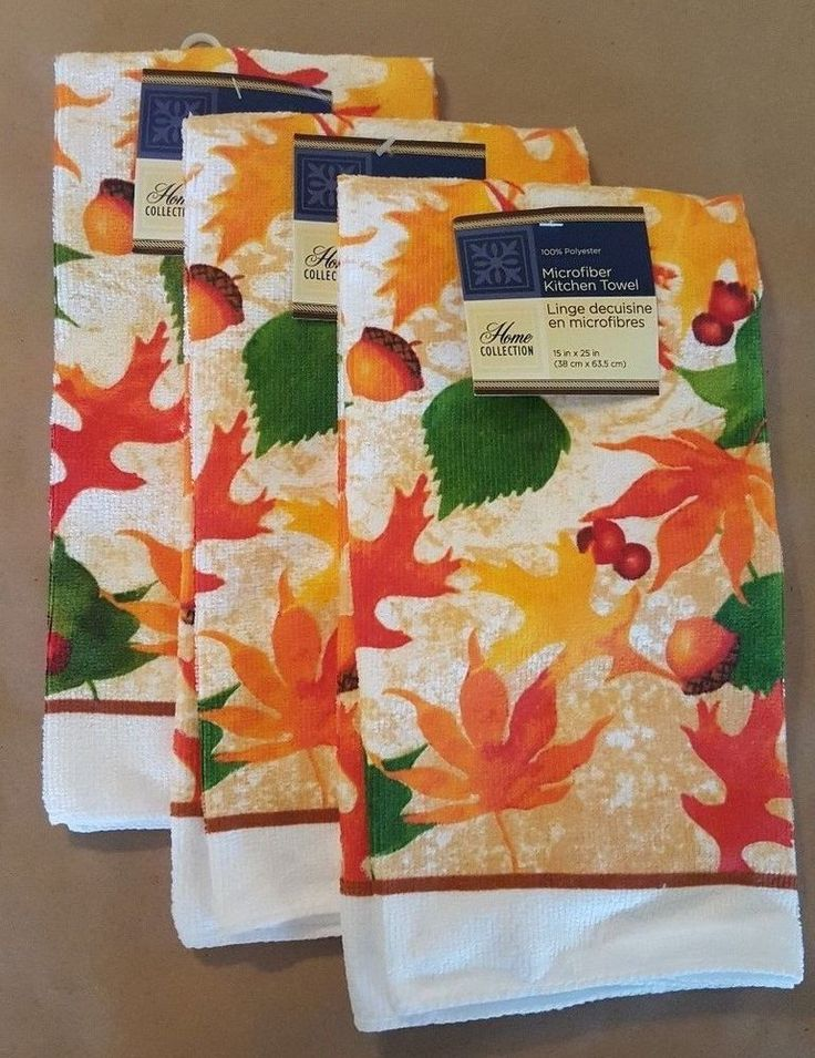 Kitchen Towel Set Microfiber Hand Towel Fall Leaves Autumn Acorns NEW #HomeCollection
