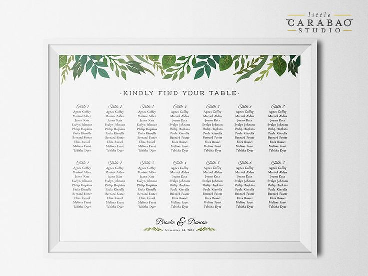 PRINTABLE Wedding Seating Chart Sign Botanical DIGITAL Seating Chart Poster Custom Wedding Sign - Little Carabao Studio - #006 by littlecarabaostudio on Etsy https://www.etsy.com/listing/245577223/printable-wedding-seating-chart-sign
