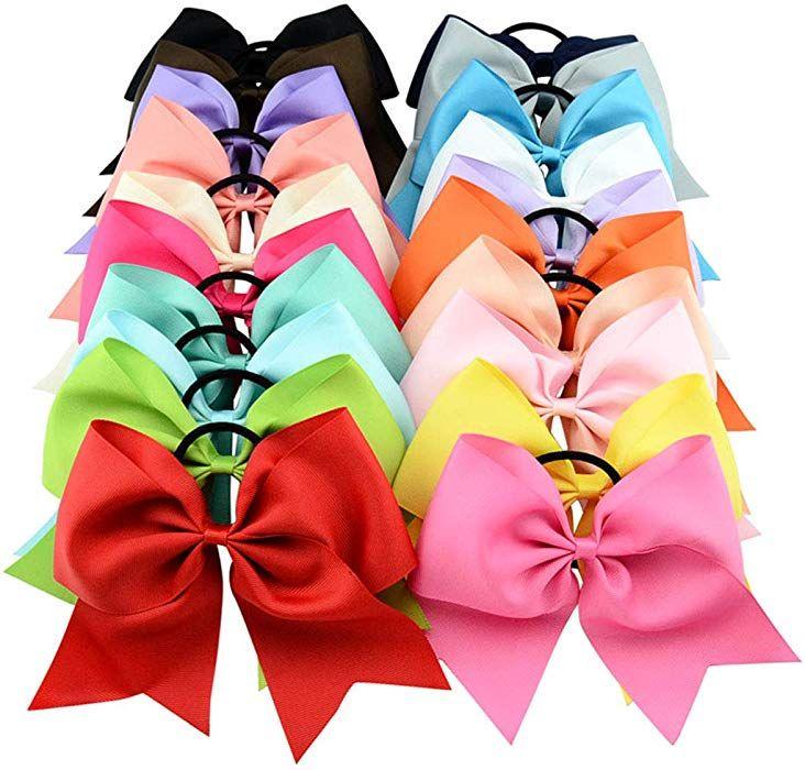 20Pcs//Lot Girls Large Cheer Bow Headband Ponytail Holder Hair Band Accessories