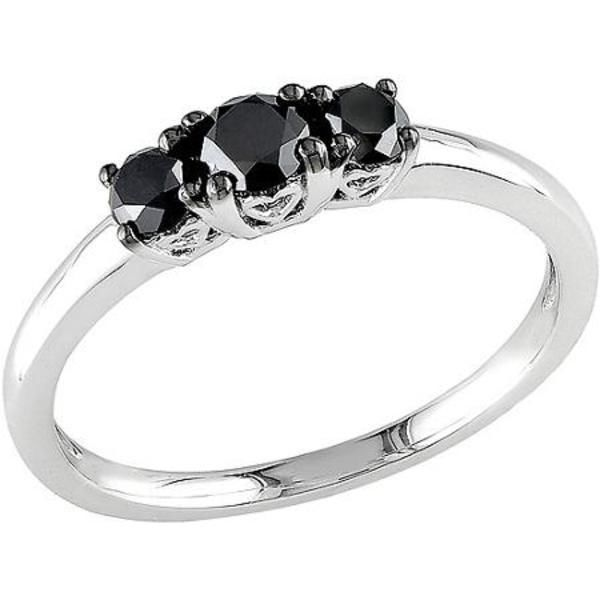 1/2 Carat T.W. Three Stone Black Moissanite Engagement Ring in Sterling Silver #jpjewels8 #Engagement #(M-W552300075) other seffer listilg