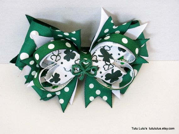 St. Paddy's Day Hair Bow Clover Hair Bow Shamrock Hair