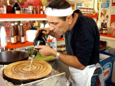 "I want to go to Alcudia just to know this Man.    Best Crepe man ever - Julio ""the pancake"" in Alcudia with ""love is in the air"" (hi qual)"