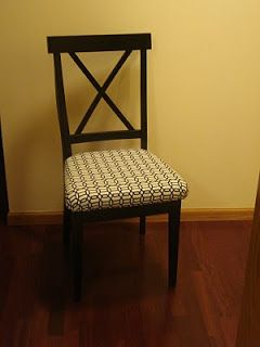 How to add a padded seat to a wooden chair... for our kitchen chairs :)