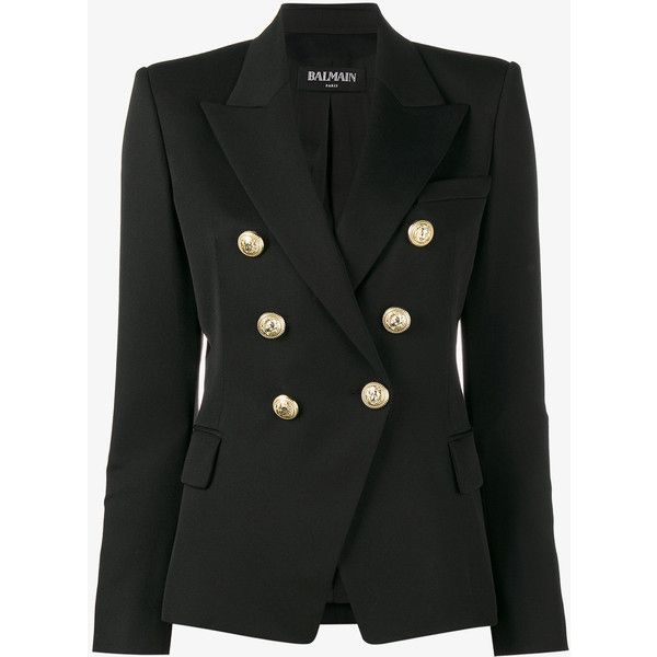 Balmain Double Breasted Blazer (£1,570) ❤ liked on Polyvore featuring outerwear, jackets, blazers, coats & jackets, black, double breasted wool blazer, shoulder pad jacket, double breasted blazer, peaked lapel blazer and double breasted jacket