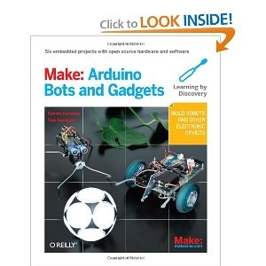 This is a book I am using to develop my new robotics videos with. It's by Make: Arduino Bots and Gadgets: Six Embedded Projects with Open Source Hardware and Software (Learning by Discovery)