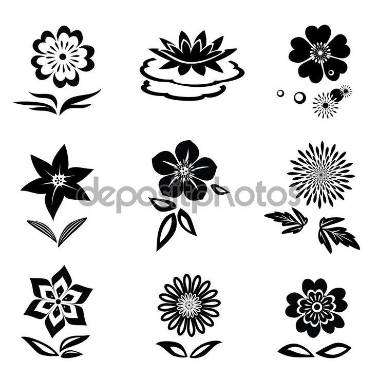 İndir - Çiçek seti.  Papatya, zambak, orkide, nilüfer.  beyaz zemin üzerine siyah siluetleri.  çiçek ve yaprak İzole sembolleri.  Vektör - Stok Vektör # 94737014