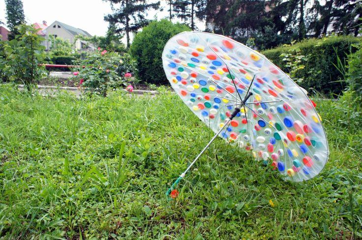 Umbrella with plastic bottle caps