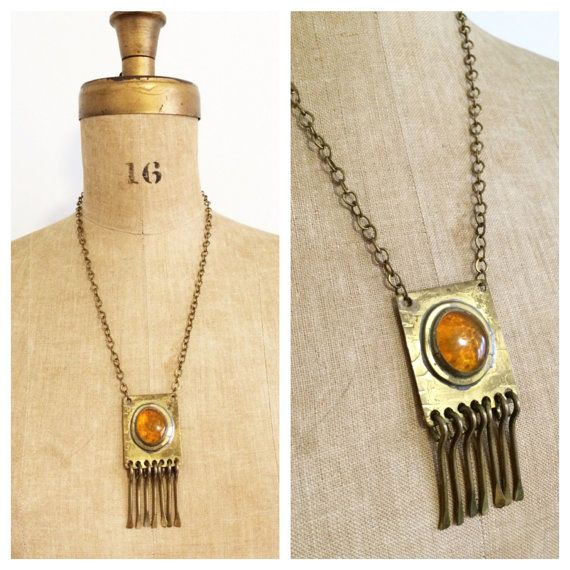 Signed 'Rafael' necklace with fringed amber by TheEditVintage