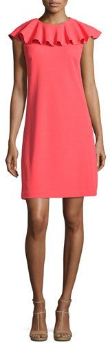 Ted Baker London Sontie Frill-Collar Shift Dress, Coral