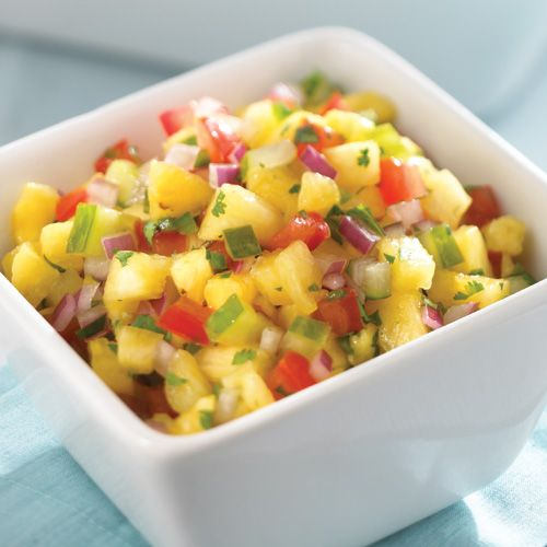 Fresh Pineapple Salsa - The Pampered Chef® 2   plum tomatoes 1/2 small red onion 1 4-in. piece seedless cucumber 1/2 cup lightly packed cilantro leaves 1   jalapeño pepper 1 medium pineapple 1   lime 1/2 tsp salt  Lime Tortilla Chips (optional)