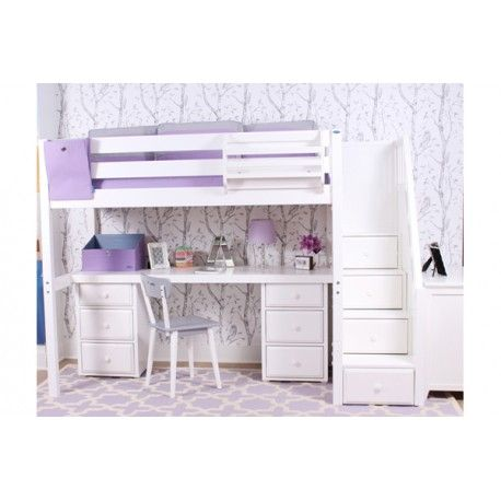 Maxtrix High Loft Bed with Long Study Desk & Storage. Available in Twin or Full.  White, Natural & Chestnut. Sold Maple Wood Tested for 800lbs.#bunkbed #kidsroom#boysroom#girlsroom#kidsdecor#interiordesign#kidsinsparation#kidsroomwithstyle#bedsmart#bedwithstorage#smallspaceliving#shopping#toronto