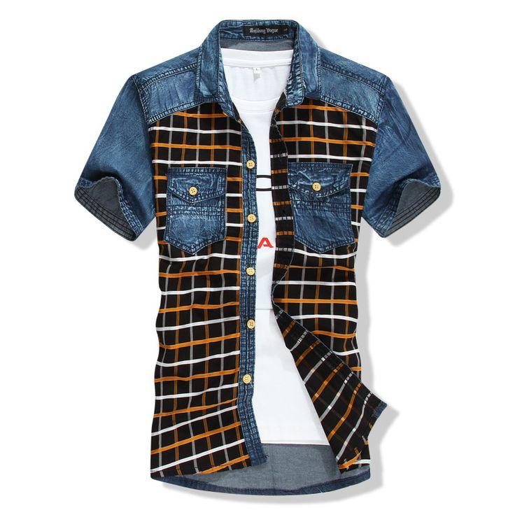 Hombre de mezclilla Camisas a cuadros de manga corta del remiendo Camisas hombres Camisas vaqueros delgada franja a cuadros camisa de vaquero cuadrícula hombres camisa a cuadros de mezclilla en Camisas Casuales de Moda y Complementos Hombre en AliExpress.com | Alibaba Group