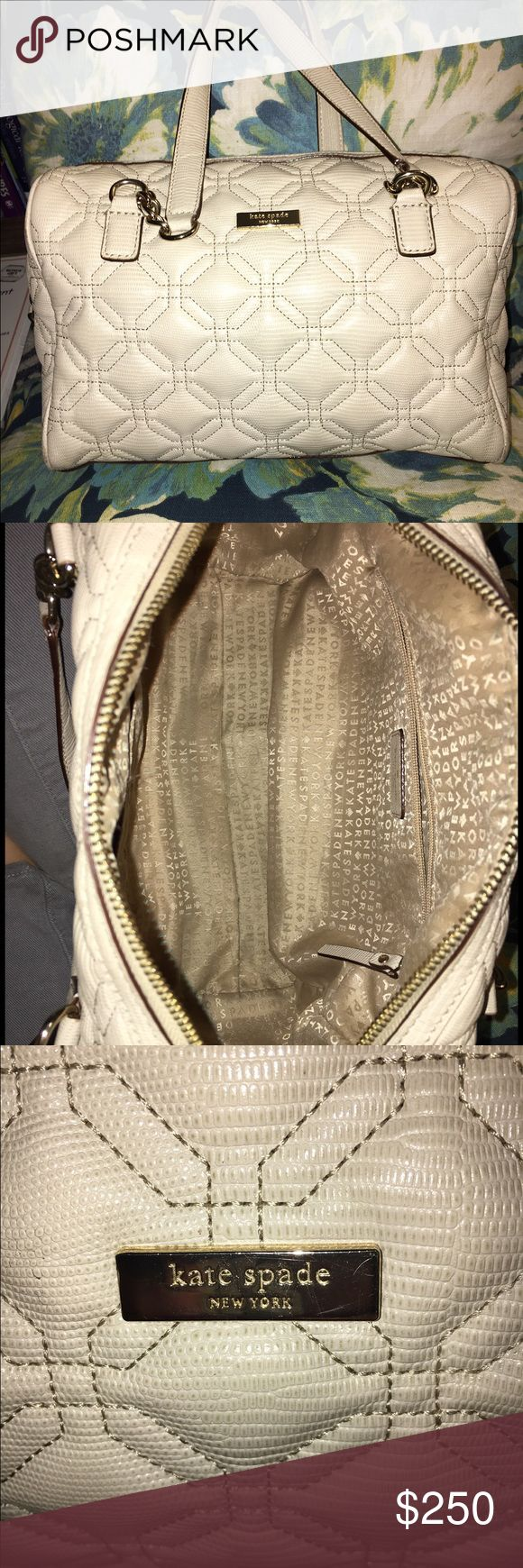 "⭐️MOVING SALE⭐️ Kate Spade quilted shoulder bag Kate Spade quilted shoulder bag in cream color. Very gently used with minimal to no signs of wear. Slight blemish on interior, one slight marking on exterior that is virtually imperceptible (pictured). Worn only 2-3 times. In excellent condition from smoke free home. Measures approximately 12"" x 8"" x 5"". Purchased for $398 kate spade Bags Shoulder Bags"