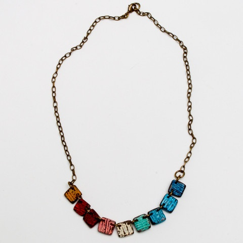 The La Plata, handmade rainbow tile necklace exclusive to World Hippie Originals.