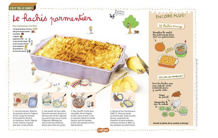 La recette du hachis parmentier  dans le magazine Astrapi n° 804 (pour les enfants de 7 à 11 ans). Une recette simple et délicieuse pour les enfants!