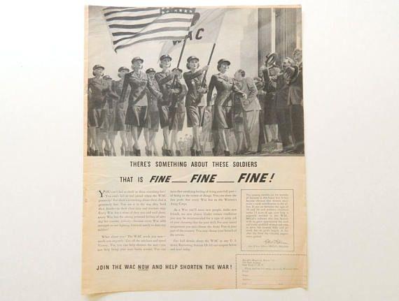 WAC Recruiting Ad  1944 Military Recruitment  Magazine