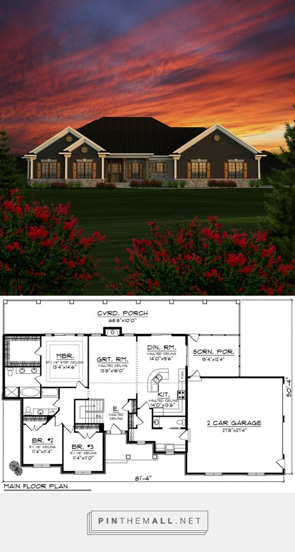 Redell Rustic Ranch Home Single Story House Floor Plans Ranch House Plans Basement House Plans