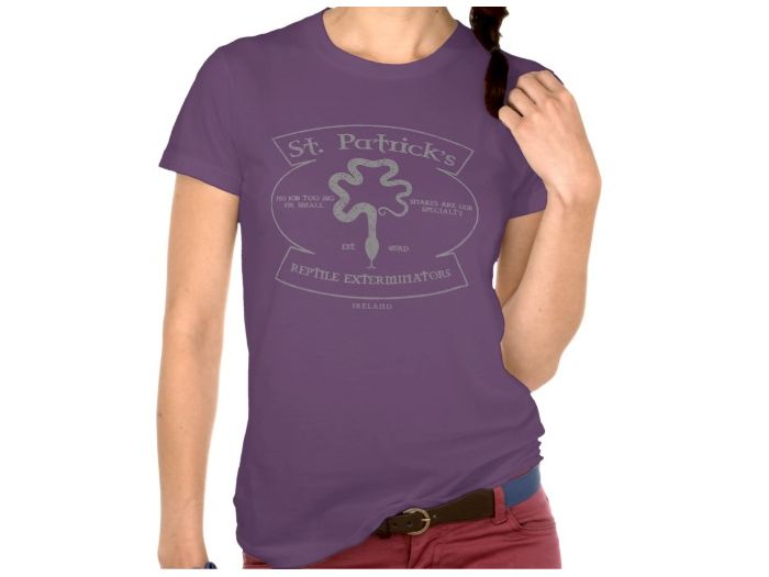 Saint Patrick's Reptile Exterminations, Style is Women's American Apparel Fine Jersey Short Sleeve T-Shirt, color is Eggplant