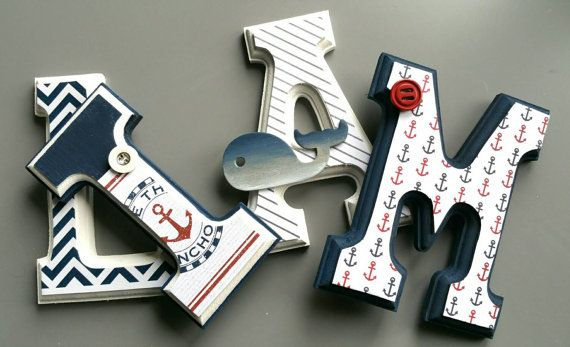 Wall letters wooden nautical theme sailor marine by MissiCreation