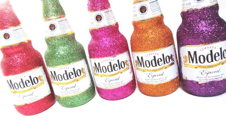 New Years Eve Centerpieces. Set of 6 Modelo Beer glitter ...