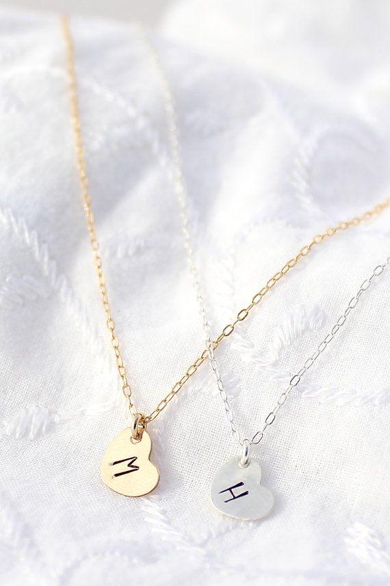 Silver Initial Heart Necklace Tiny Heart by powderandjade on Etsy