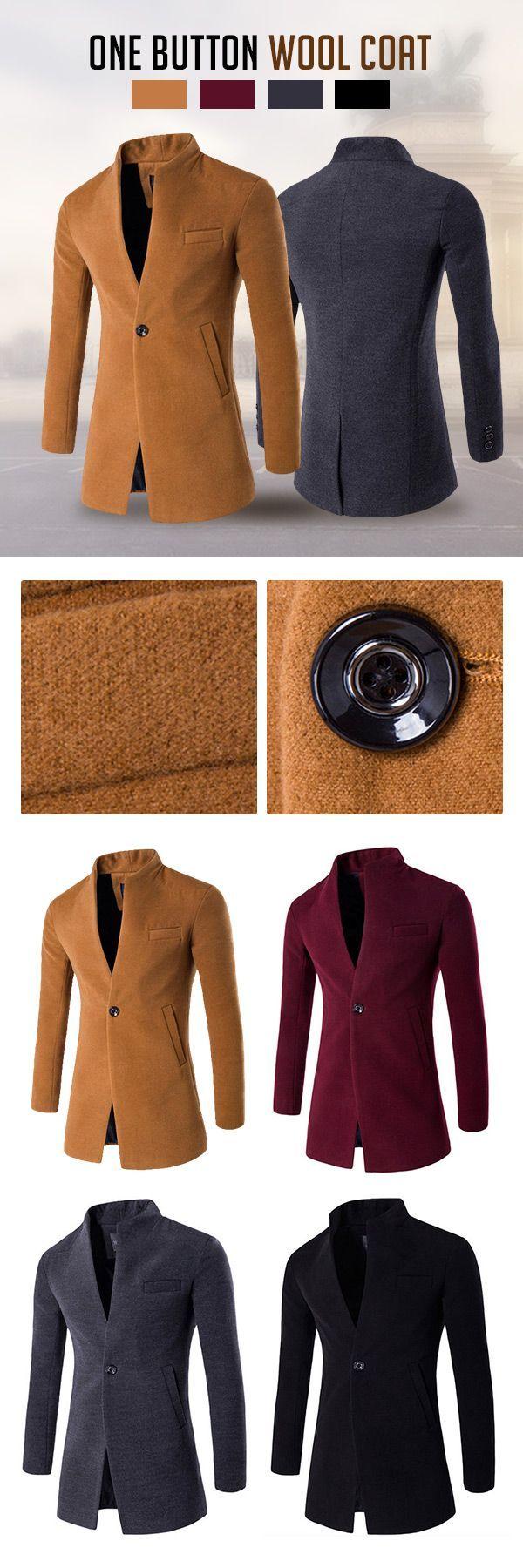 Business: One Button Stand Collar Woolen Jacket #men #fashion #style