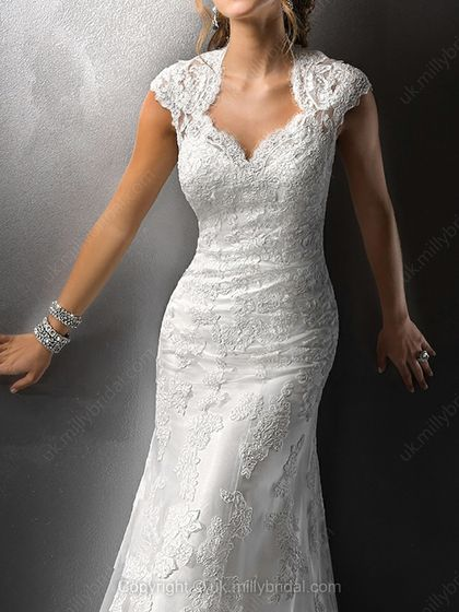 Sheath/Column V-neck Lace Satin Floor-length White Flowers Wedding Dresses -USD$307.59
