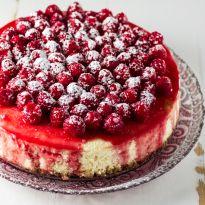 Classic Cheesecake with Raspberry Sauce - Olivia's Cuisine