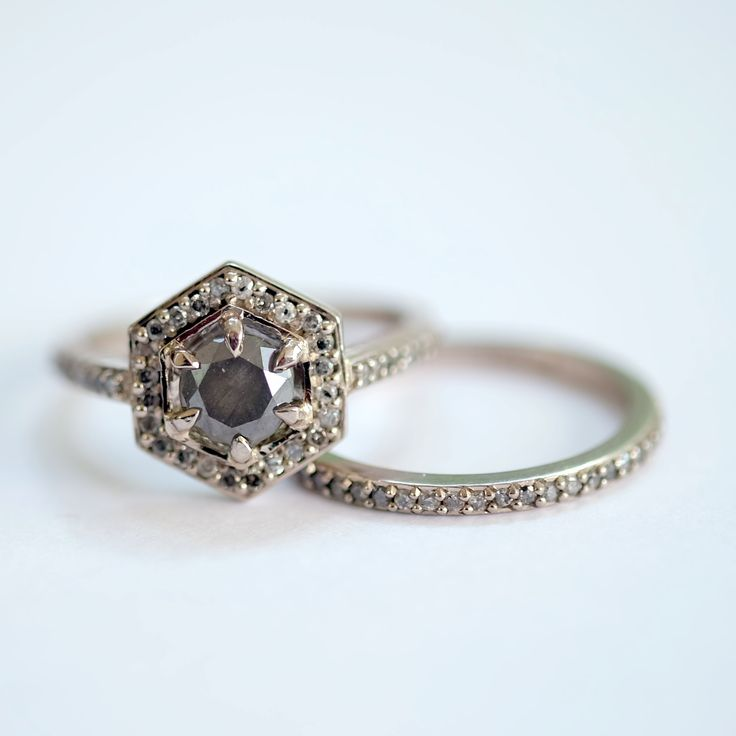 Meadowlark: 18ct White Gold Grey Diamond Hex Engagement Ring