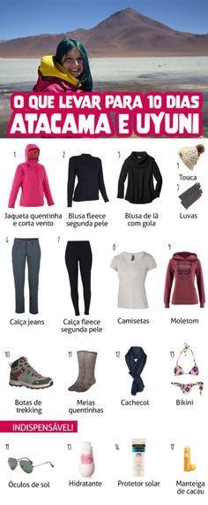 Veja a lista o que levar para uma viagem ao Atacama e Uyuni! Dicas do que vestir, indicação de roupas!