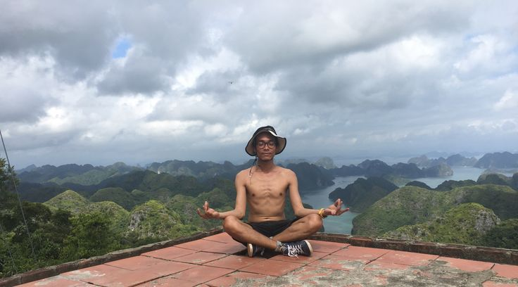 Finding inner peace ons mountaintop on Cat Ba archipelago in Northern Vietnam.