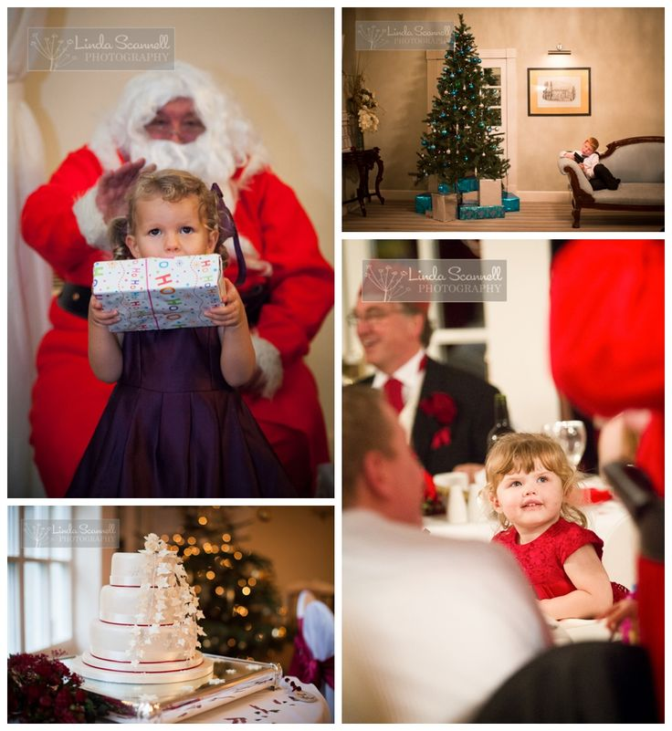 Christmas tree and Father Christmas at a Warwick House wedding in Southam | Linda Scannell, Documentary photographer in Warwickshire