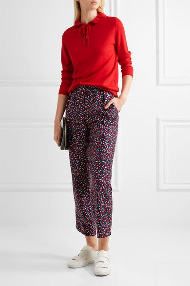 Vanessa Seward - Dilly Ruffled Merino Wool And Silk-blend Sweater - Red - FR36