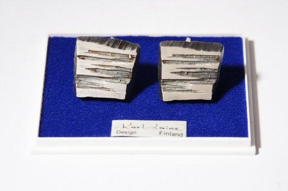 Karl Laine Brutalist Modernist Cufflinks in sterling silver. $115.00 https://www.etsy.com/listing/125597555/karl-laine-sliver-brutalist-cuff-links?ref=shop_home_feat