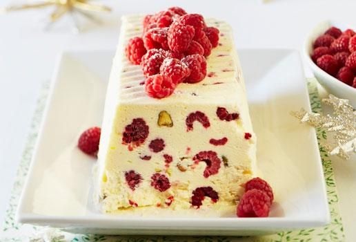 White Choc, Raspberry and Pistachio Semi Freddo