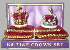 "Three Piece Crown Jewels -- The Crown Jewels of England! This set contains St. Edward's Crown (gold), the Imperial State Crown (silver) and the Sovereign's Scepter in a protective plastic box. They are 1 inch scale and contain jeweled major stones with the smaller stones simulated. Crowns are approx 1 5/16"" (33 mm) tall x 1 1/4"" (32 mm) diameter. Price for the set is $35.00. St. Edward's Crown and the Imperial State Crown are also available alone. Price is $15.00 each."