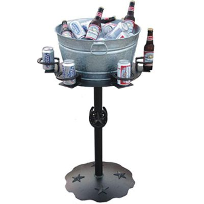 Beverage Stand Finally a horseshoe beverage stand for ALL of your friends! Not only can this stand hold up to 6 cups but leaves room in the center for a tub to hold even more beverages! Also add ice in the tub to keep closed beverages cool.