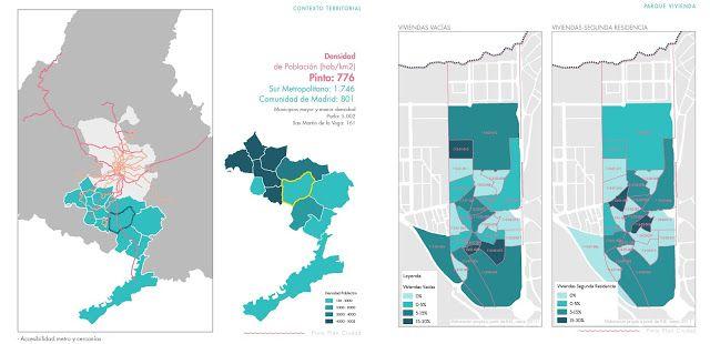 Regeneración urbana en los barrios. Pinto, con mapa de casas vacías, dencidad, segundas residencias. Desarrollo Urbano Sostenible. Fuente Paisaje Transversal